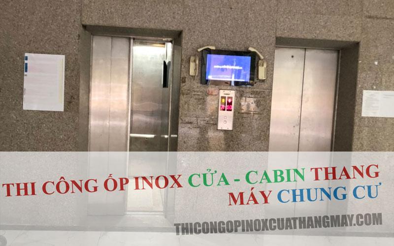 Thi công ốp Inox Cửa-Cabin thang máy chung cư