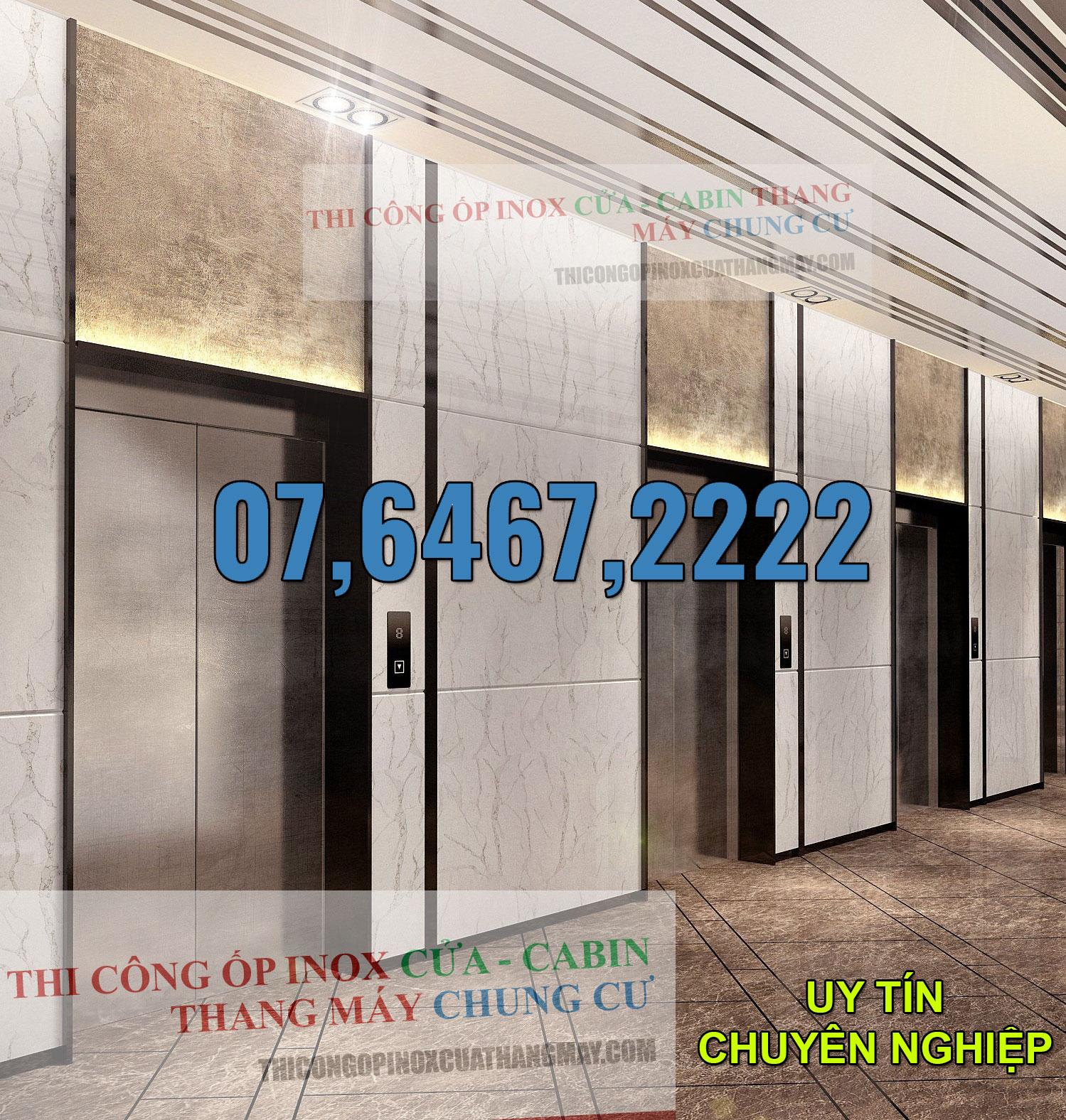 Thi công ốp Inox Cửa - Cabin thang máy chung cư