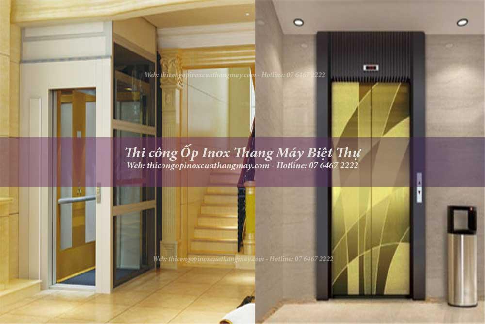 Thi công Ốp Inox cửa, Cabin Thang Máy Biệt Thự